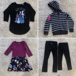 5pc Girls Sz 7 Lot Sweatshirt Pants Long Slv Dress